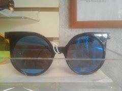 Black Sunglasses/ Blue Lens #3077