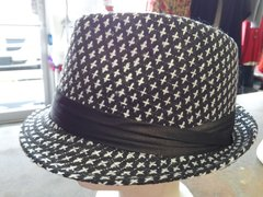 Black and White Fedora with Black Band