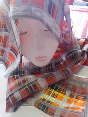 Orange Plaid Scarf #2998