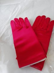 Short Red Satin Gloves