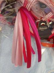 4 Pk Pink Satin Headbands 7001