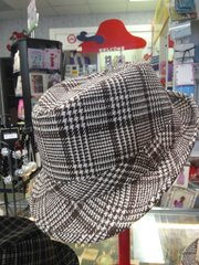 Brown and White Mens Houndstooth Fedora