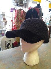 Black Fuzzy Ball Cap