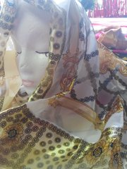 Gold and White Scarf 42 x 42