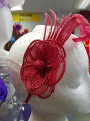 Fucshia Straw Headband #2656