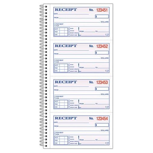 adams carbonless 2 part spiral moneyrent receipt book 11 x 5 14