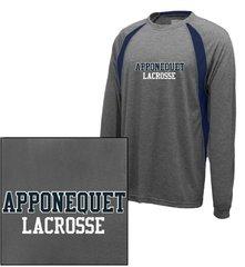 Apponequet Boys Lacrosse Long Sleeve tech tee (Carbon/Navy)