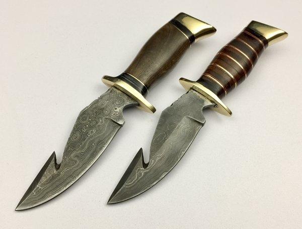 Gb536 Set Of Two Damascus Steel Custom Handmade Hunting