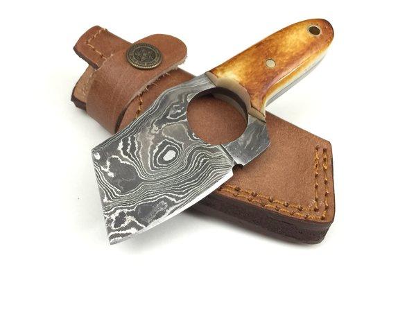 Gb708 Damascus Steel Custom Handmade Hunting Mini Cleaver