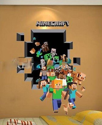 3d Minecraft Removable Wall Decal 3d Wall Decals Popular