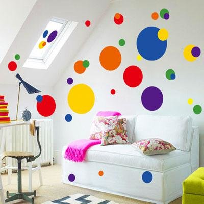 Large polka dot vinyl wall art removable sticker decal for Polka dot wall decals for kids rooms