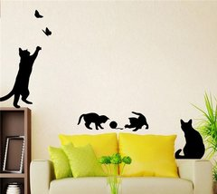 PLAYFUL BLACK KITTY DIY WALL DECAL
