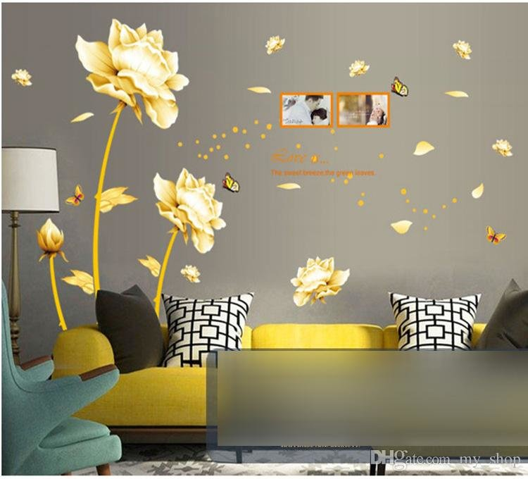 D YELLOW TULIP FLOWER WALL DECALL LOVE IS QUOTE D WALL DECALS - Yellow flower wall decals