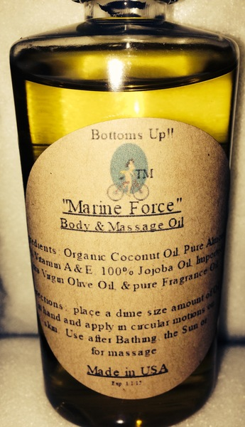 """""""Marine Force"""" Coconut Oil Infused Body & Massage Oil 4oz"""