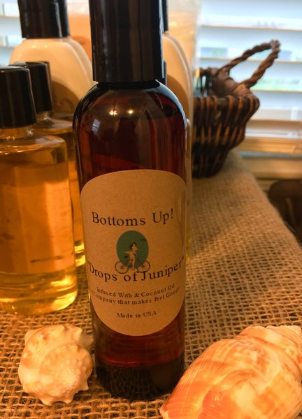 """Drops of Juniper"" Coconut Oil Infused Body and Massage Oil 4 oz"