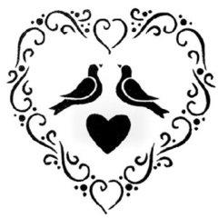 Shabby Chic Heart & Bird Stencil - A4
