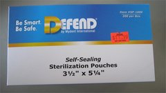 "Defend Self- Sealing Sterilization Pouches 3.5"" x 5.25"""