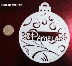 PERSONALIZED 10CM BAUBLE (ICE FERN DESIGN)