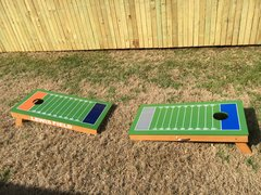 Football field cornhole board set