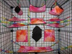 15 pc Bedding - Sugar Glider Cage Set - Rat - Orange/ Pink Tie Dye