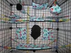 15 pc Bedding - Sugar Glider Cage Set - Rat - Blue Foxes