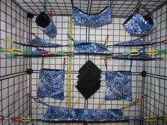 15 pc Bedding - Sugar Glider Cage Set - Rat - Dark Blue Taiwan Swirl