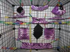 15 pc Bedding - Sugar Glider Cage Set - Rat - Purple Tie Dye