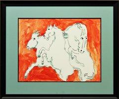 White Horses on Orange