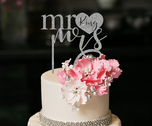 personalized heart mr mrs cake topper the faded clover
