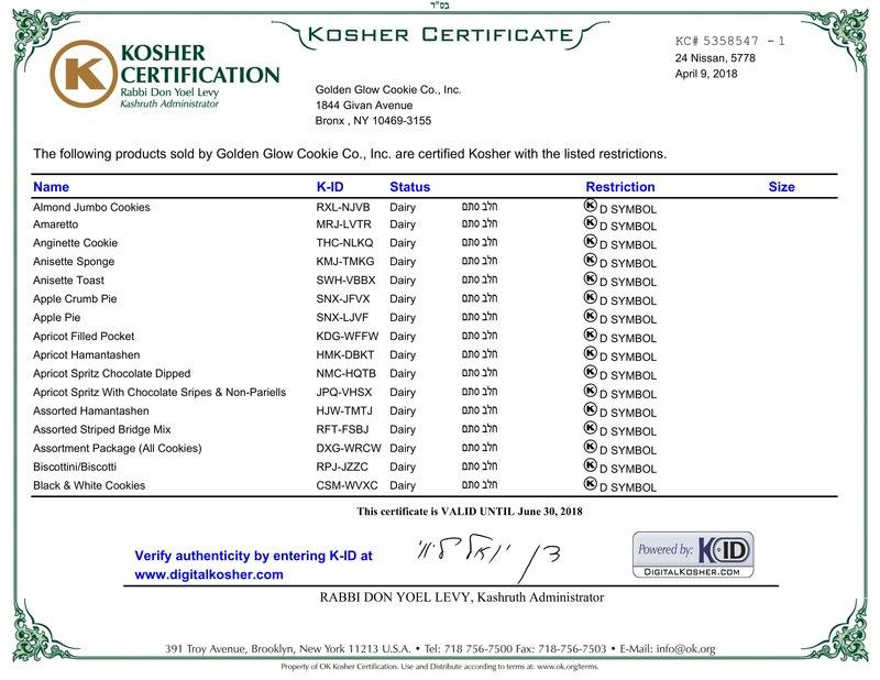Kosher Certifications Golden Glow Cookie Co Inc