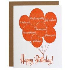 """Birthday Language Balloons"" Birthday Greeting Card"