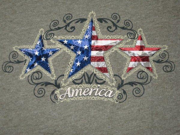 Tri-Star America Heather Green Ladies T-shirt