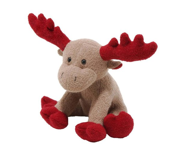 Christmas Moose Woolie Squeak Dog Toy SMALL