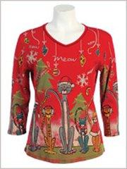 Meow Meow Christmas Shirt - Red