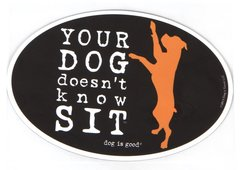 Your Dog doesn't know Sit - Oval Magnet