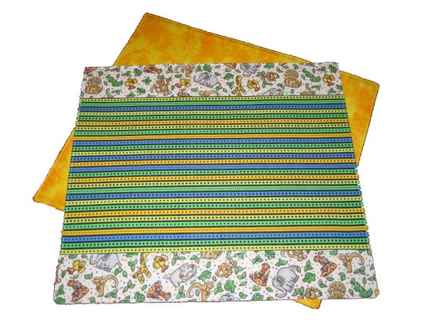Cotton Washable Placemats - Stripes and Zoo