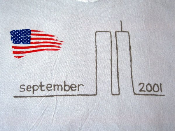September 11 Remembrance Tee - White with US Flag