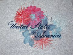 United States of America Floral Ladies T-shirt