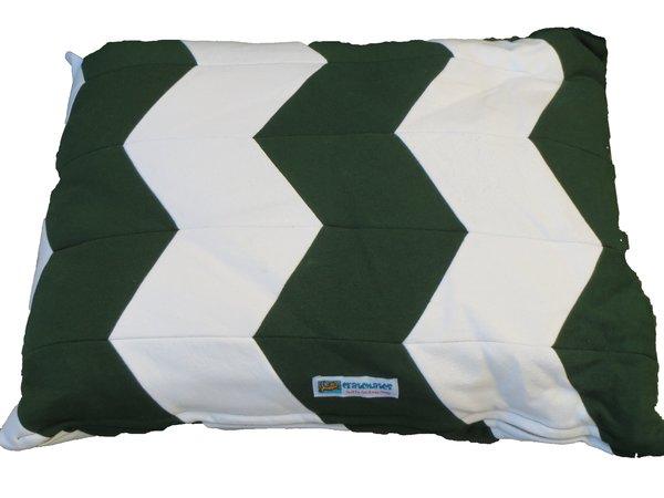 CrateMates Diamond Pillow Pet Bed - Green White Zig Zag