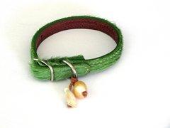 GREEN Cowhide Dog Collar - X-Small