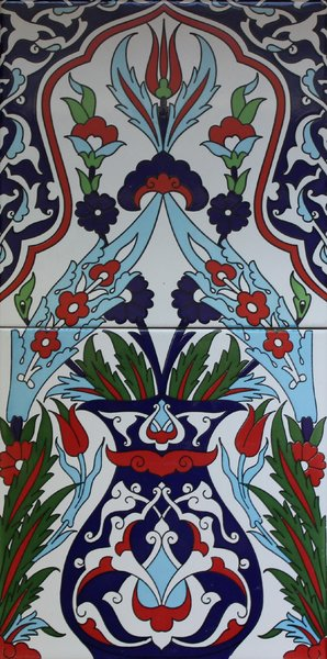 Turkish Iznik Vase Floral Pattern Ceramic Tile Panel Anatolian