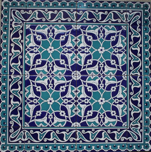 Turkish Iznik Blue Tile Mural Panel | Anatolian Artifacts