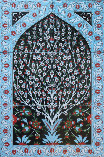 Hand-painted Iznik Tree of Life Pattern Turkish Tile Mural Panel ...