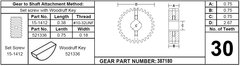 Lippert Slide Out Gear Spur Assembly, 30 Teeth, 387180