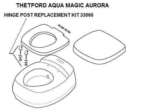 Thetford Toilet Hinge Post Replacement Kit Bone 33060