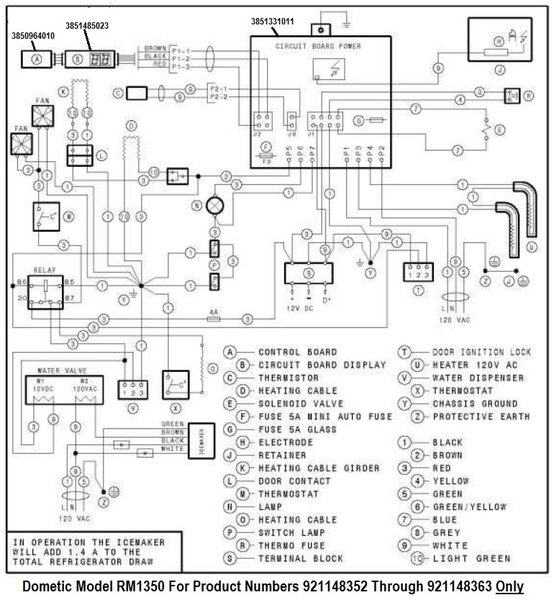 dometic refrigerator printed circuit board 3851485023