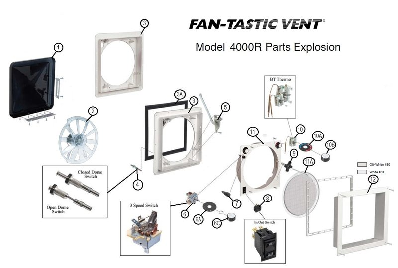 item#1 clear dome kit 1020-00 item#1 smoked dome kit 1020-19 item#2 fan  motor with blade 4017-80