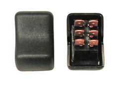 Contour Rocker Switch, DPDT, Black, On/On