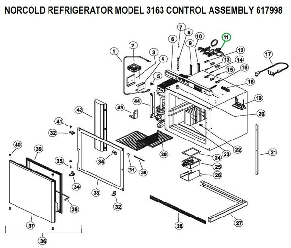 norcold refrigerator control assembly 617998