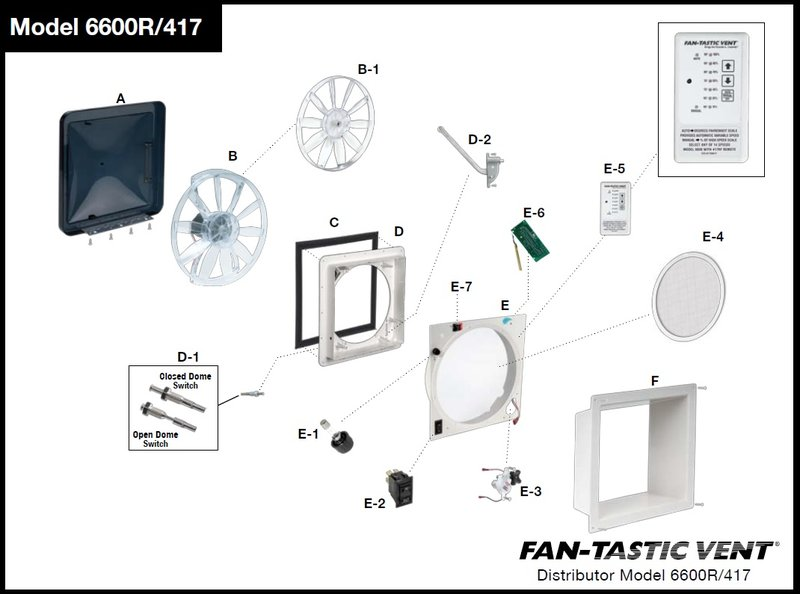 item#a clear dome kit 1020-00 item#a smoked dome kit 1020-19 item#b fan  motor with blade 4017-80